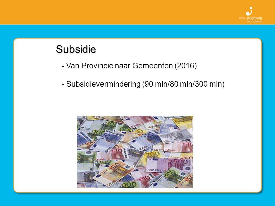 Subsidie - Van Provincie naar Gemeenten (2016) - Subsidievermindering (90 mln/80 mln/300 mln)