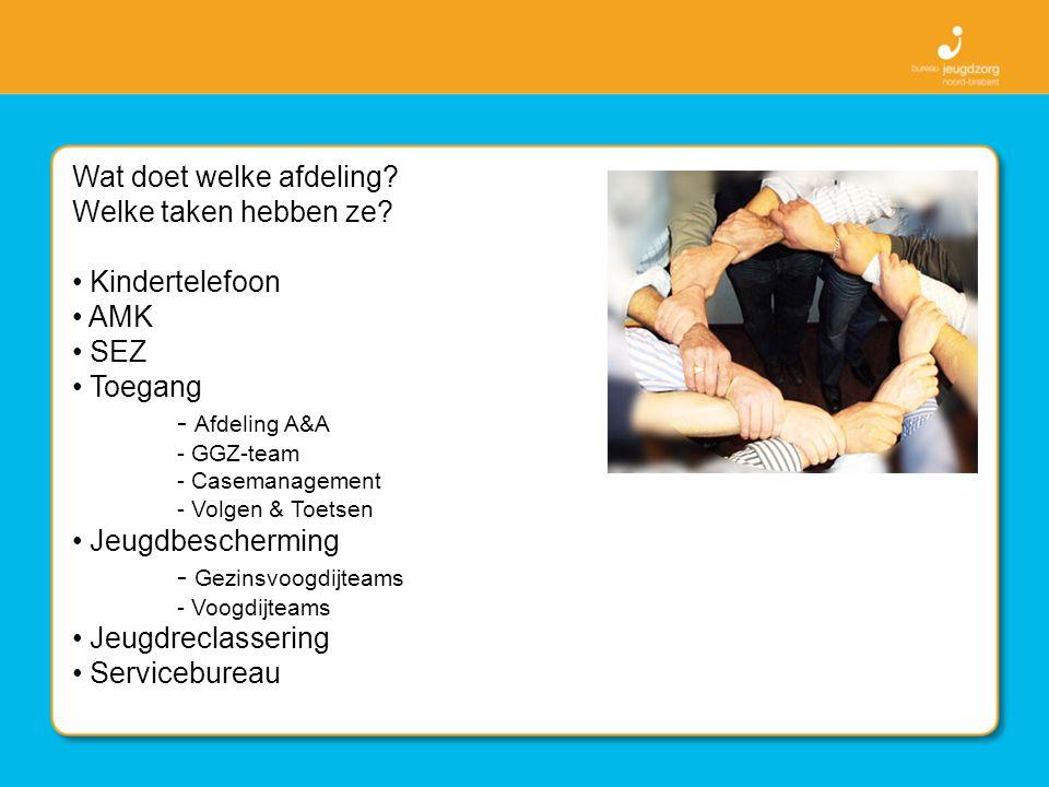 Wat doet welke afdeling? Welke taken hebben ze? Kindertelefoon AMK SEZ Toegang - Afdeling A&A - GGZ-team - Casemanagement - Volgen & Toetsen Jeugdbesc