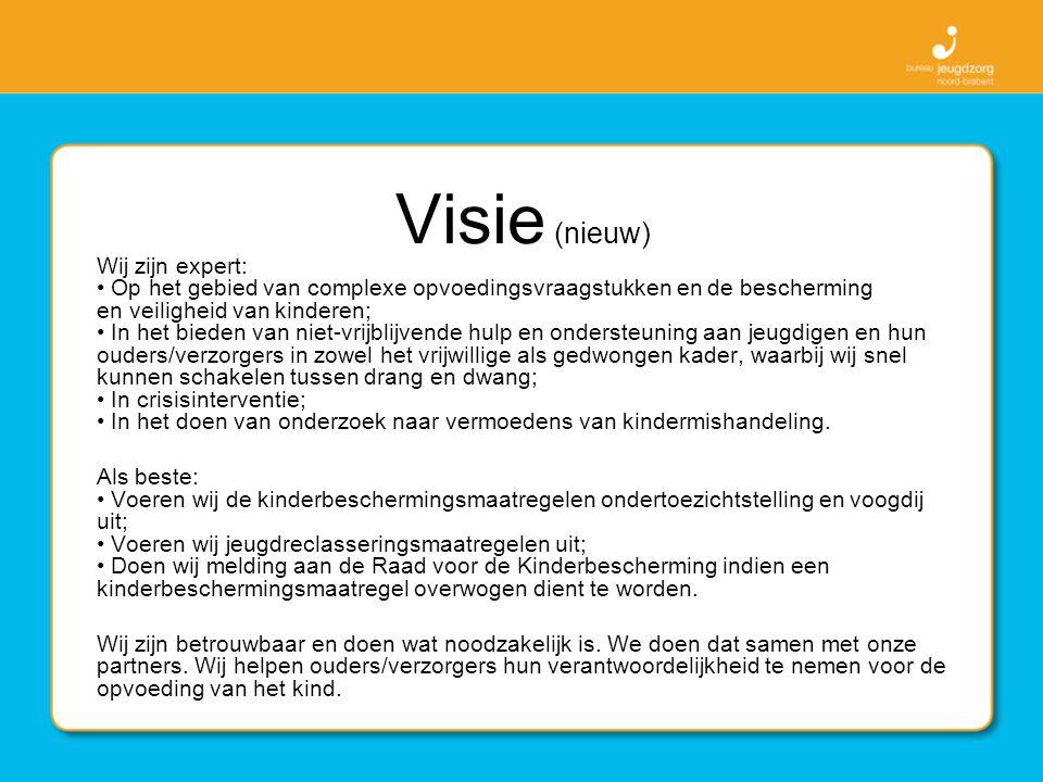 Visie (nieuw) Wij zijn expert: Op het gebied van complexe opvoedingsvraagstukken en de bescherming en veiligheid van kinderen; In het bieden van niet-