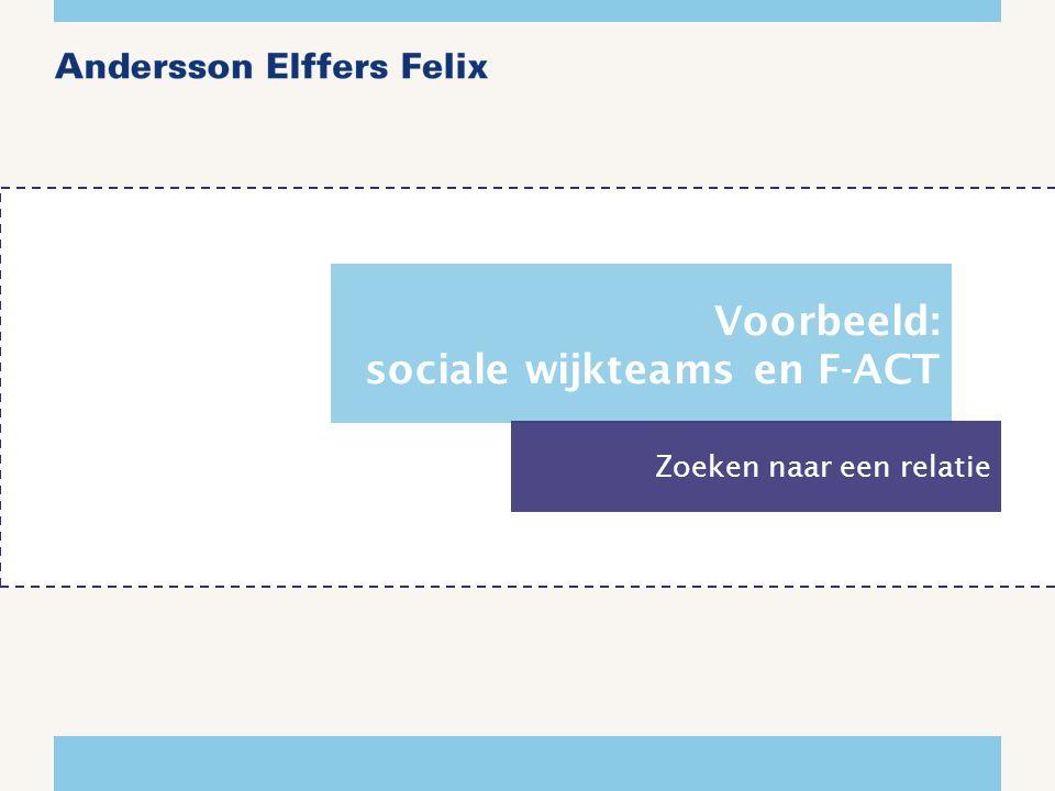 Voorbeeld: sociale wijkteams en F-ACT Zoeken naar een relatie