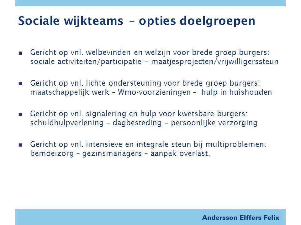 Sociale wijkteams – opties doelgroepen Gericht op vnl.