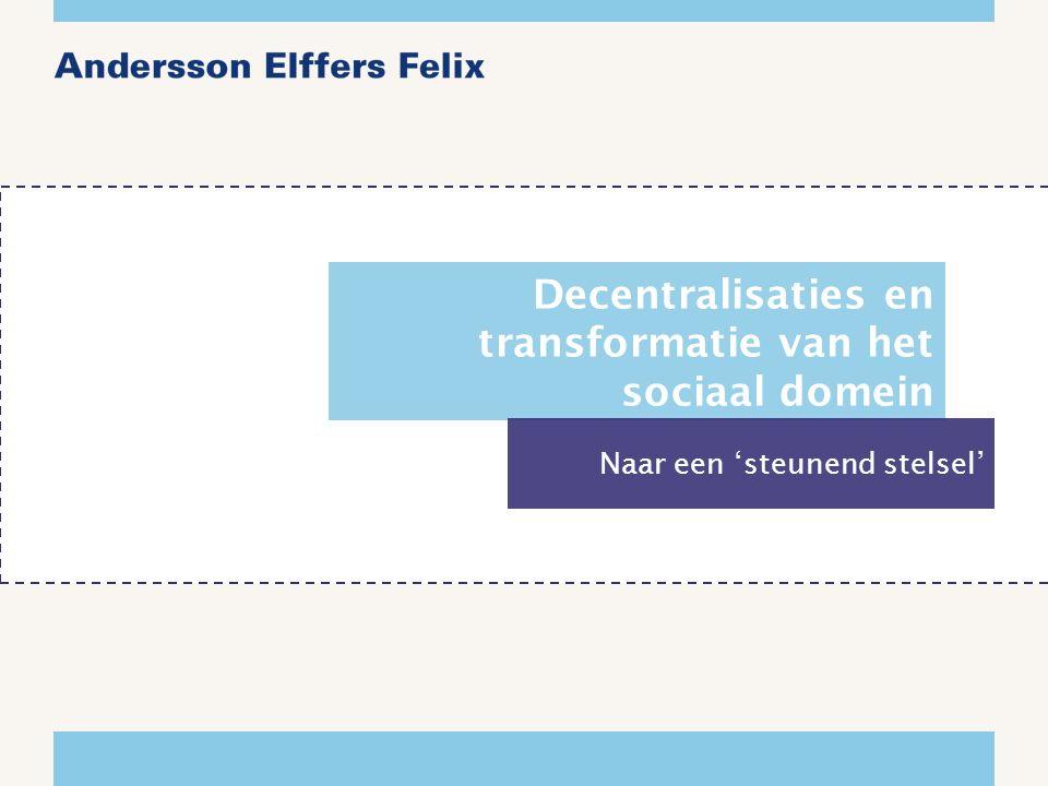 Decentralisaties en transformatie van het sociaal domein Naar een 'steunend stelsel'