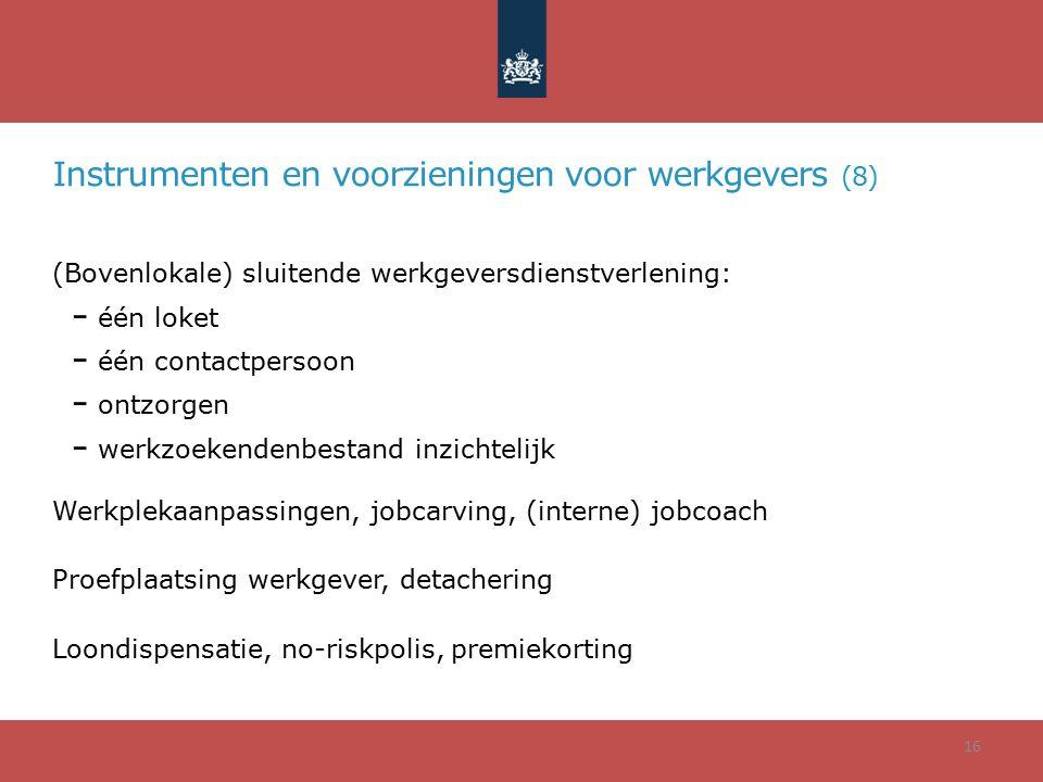 Instrumenten en voorzieningen voor werkgevers (8) (Bovenlokale) sluitende werkgeversdienstverlening: één loket één contactpersoon ontzorgen werkzoeken