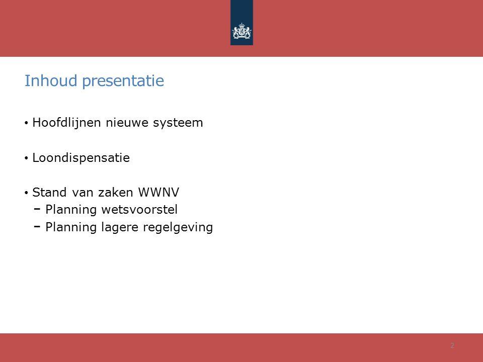 Inhoud presentatie Hoofdlijnen nieuwe systeem Loondispensatie Stand van zaken WWNV Planning wetsvoorstel Planning lagere regelgeving 2