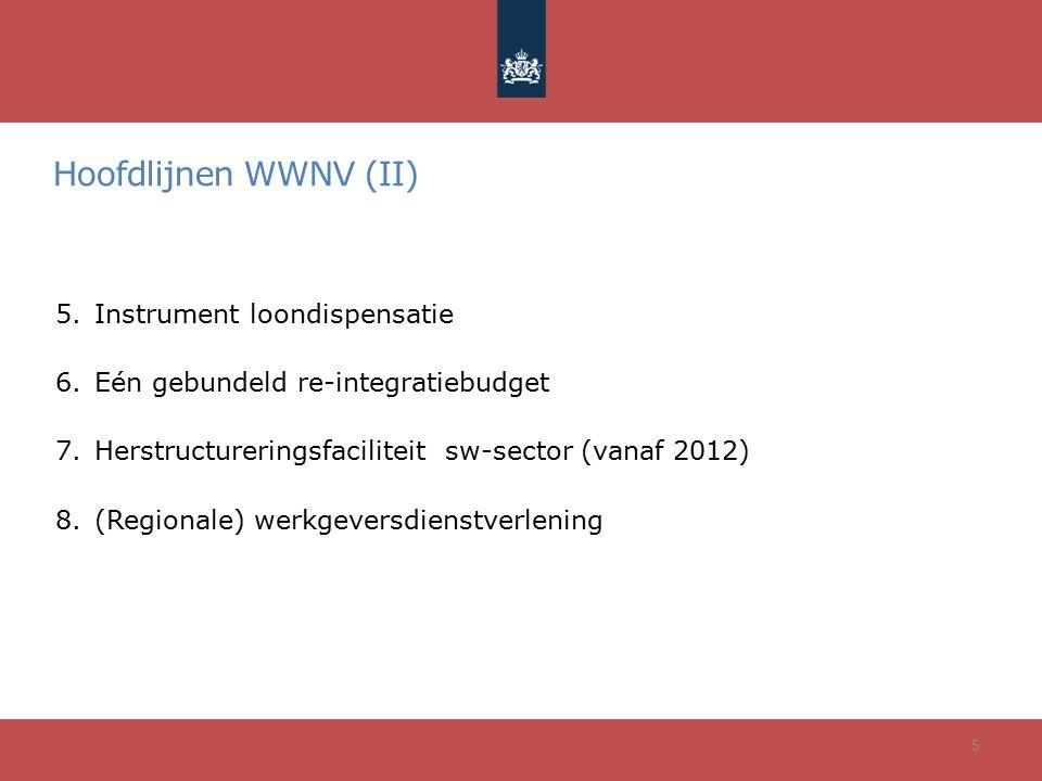 Hoofdlijnen WWNV (II) 5.Instrument loondispensatie 6.Eén gebundeld re-integratiebudget 7.Herstructureringsfaciliteit sw-sector (vanaf 2012) 8.(Regiona