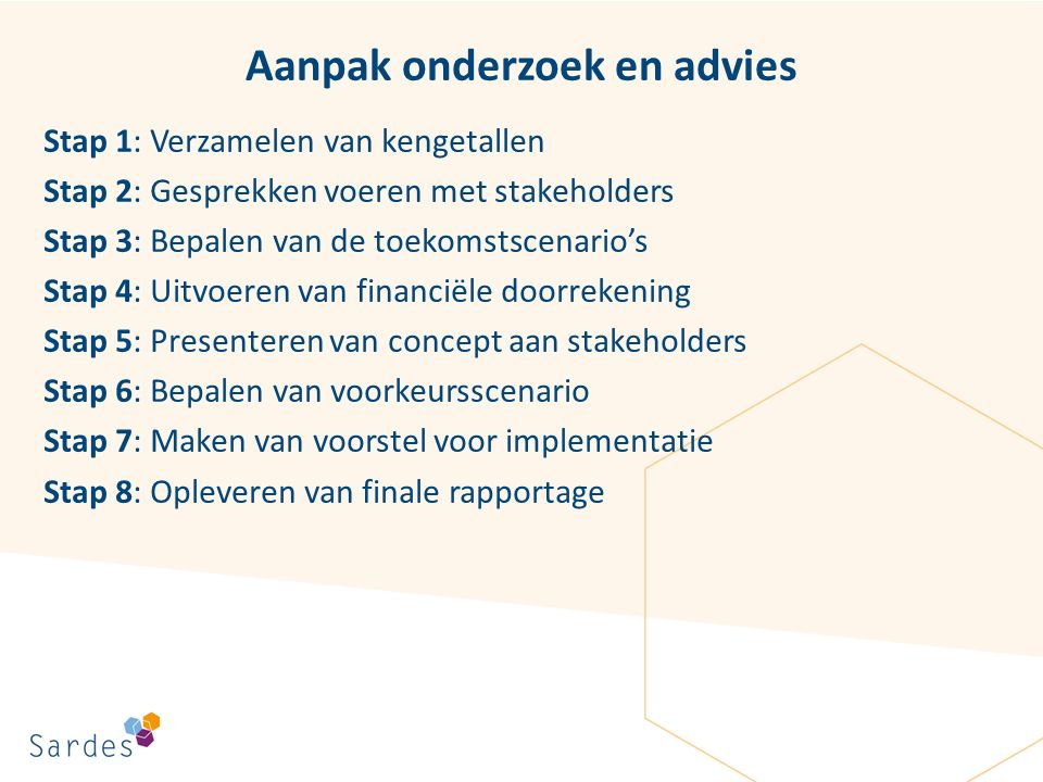 Aanpak onderzoek en advies Stap 1: Verzamelen van kengetallen Stap 2: Gesprekken voeren met stakeholders Stap 3: Bepalen van de toekomstscenario's Sta