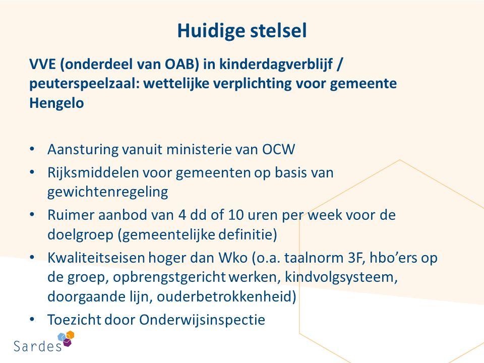 Huidige stelsel VVE (onderdeel van OAB) in kinderdagverblijf / peuterspeelzaal: wettelijke verplichting voor gemeente Hengelo Aansturing vanuit minist