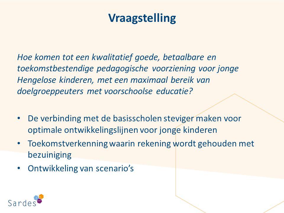 Vraagstelling Hoe komen tot een kwalitatief goede, betaalbare en toekomstbestendige pedagogische voorziening voor jonge Hengelose kinderen, met een maximaal bereik van doelgroeppeuters met voorschoolse educatie.