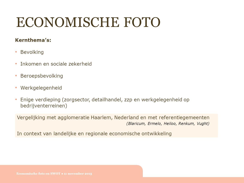 ECONOMISCHE FOTO Economische foto en SWOT ● 11 november 2015 Kernthema's: Bevolking Inkomen en sociale zekerheid Beroepsbevolking Werkgelegenheid Enige verdieping (zorgsector, detailhandel, zzp en werkgelegenheid op bedrijventerreinen) Vergelijking met agglomeratie Haarlem, Nederland en met referentiegemeenten (Blaricum, Ermelo, Heiloo, Renkum, Vught) In context van landelijke en regionale economische ontwikkeling