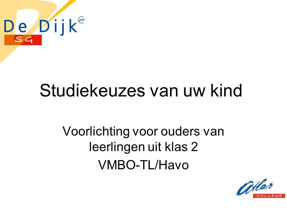Studiekeuzes van uw kind Voorlichting voor ouders van leerlingen uit klas 2 VMBO-TL/Havo