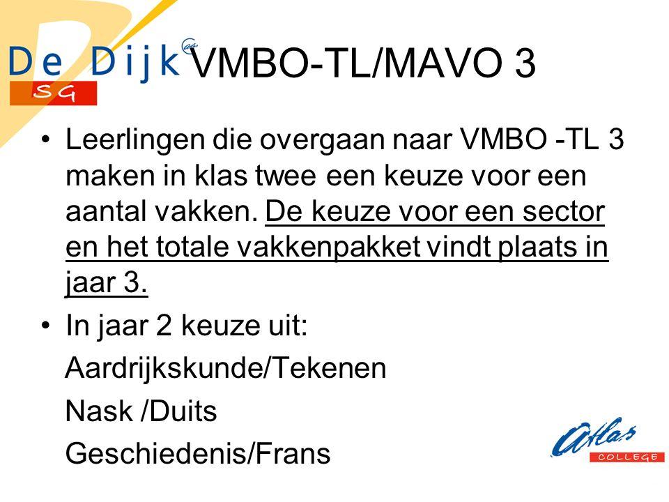 VMBO-TL/MAVO 3 Leerlingen die overgaan naar VMBO -TL 3 maken in klas twee een keuze voor een aantal vakken.