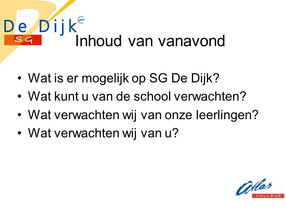 Inhoud van vanavond Wat is er mogelijk op SG De Dijk.