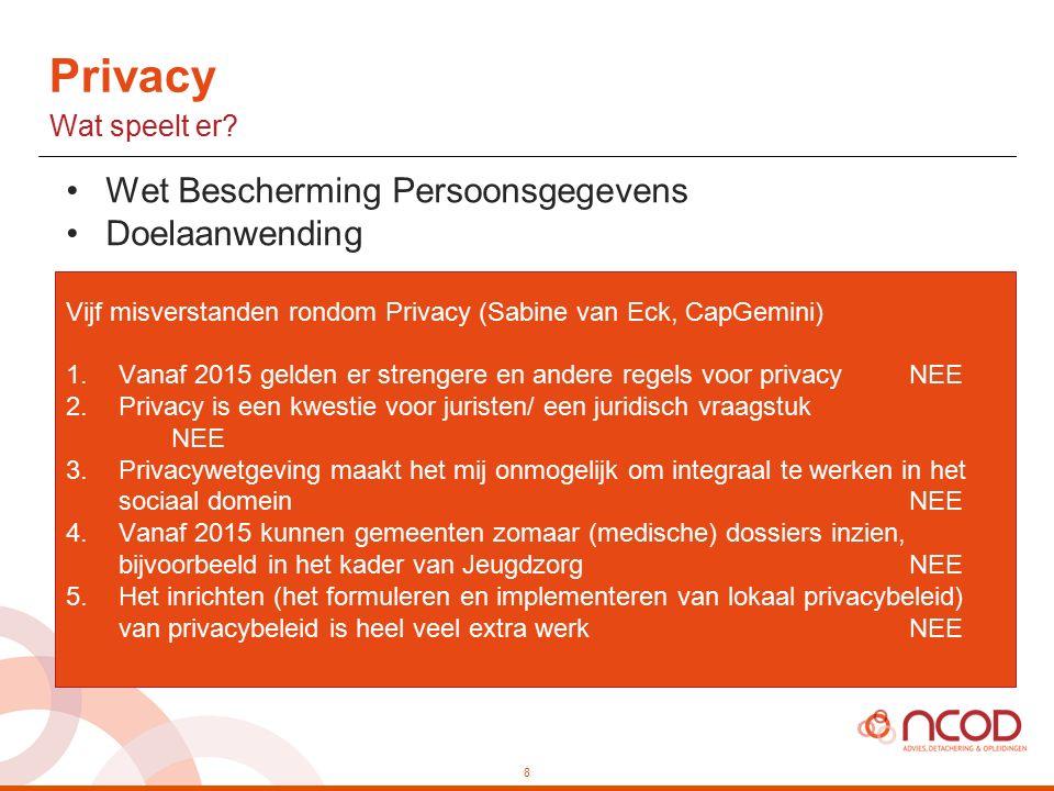 Wet Bescherming Persoonsgegevens Doelaanwending Vijf misverstanden rondom Privacy (Sabine van Eck, CapGemini) 1.Vanaf 2015 gelden er strengere en andere regels voor privacyNEE 2.Privacy is een kwestie voor juristen/ een juridisch vraagstuk NEE 3.Privacywetgeving maakt het mij onmogelijk om integraal te werken in het sociaal domeinNEE 4.Vanaf 2015 kunnen gemeenten zomaar (medische) dossiers inzien, bijvoorbeeld in het kader van JeugdzorgNEE 5.Het inrichten (het formuleren en implementeren van lokaal privacybeleid) van privacybeleid is heel veel extra werkNEE 8 Privacy Wat speelt er?