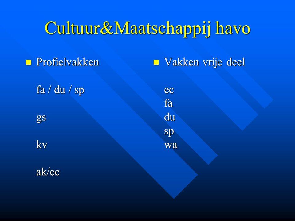 Cultuur&Maatschappij havo Profielvakken fa / du / sp gs kv ak/ec Profielvakken fa / du / sp gs kv ak/ec Vakken vrije deel ec fa du sp wa