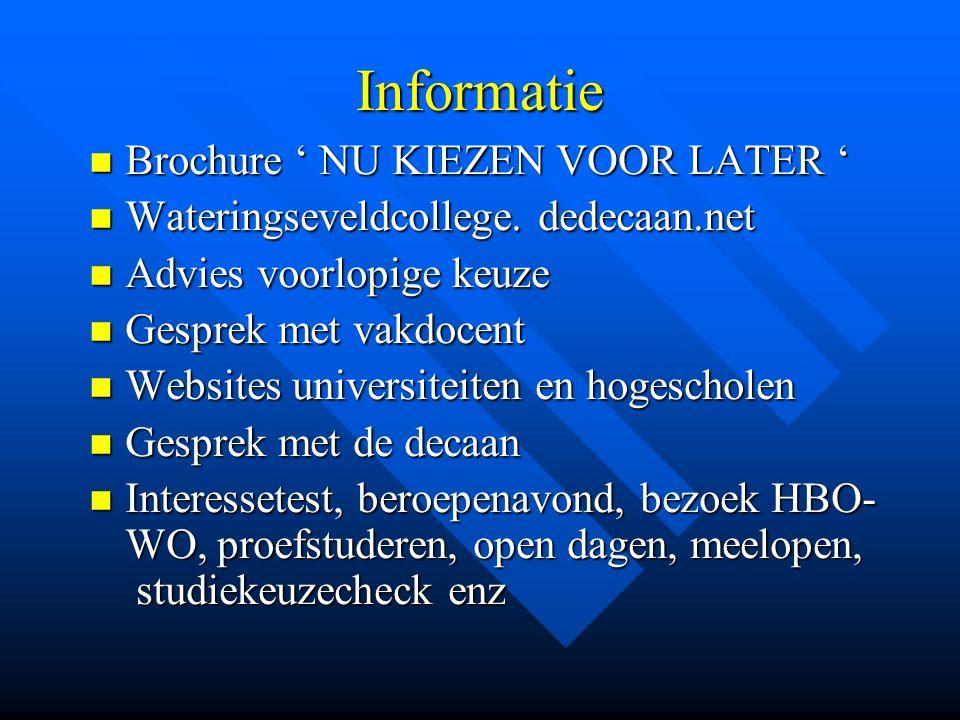Informatie Brochure ' NU KIEZEN VOOR LATER ' Brochure ' NU KIEZEN VOOR LATER ' Wateringseveldcollege.