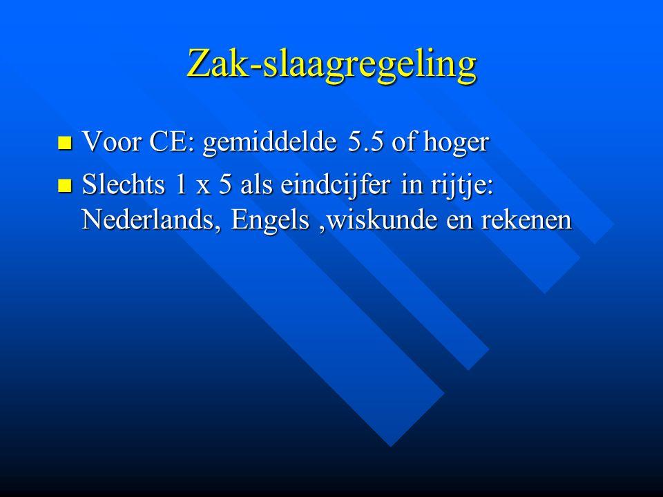 Zak-slaagregeling Voor CE: gemiddelde 5.5 of hoger Voor CE: gemiddelde 5.5 of hoger Slechts 1 x 5 als eindcijfer in rijtje: Nederlands, Engels,wiskund