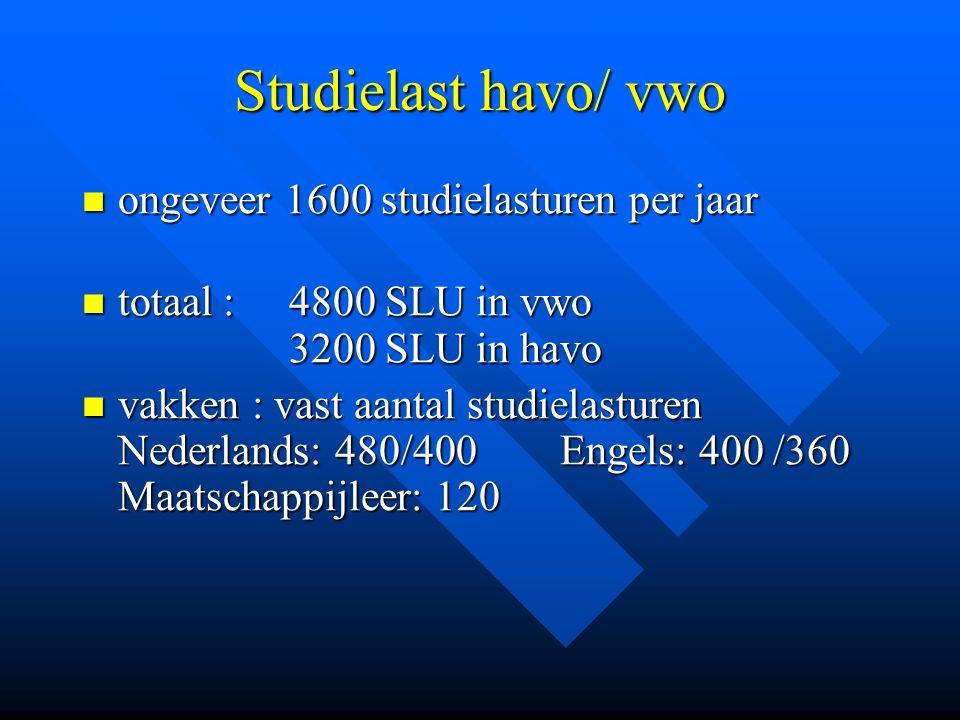 Studielast havo/ vwo ongeveer 1600 studielasturen per jaar ongeveer 1600 studielasturen per jaar totaal : 4800 SLU in vwo 3200 SLU in havo totaal : 48