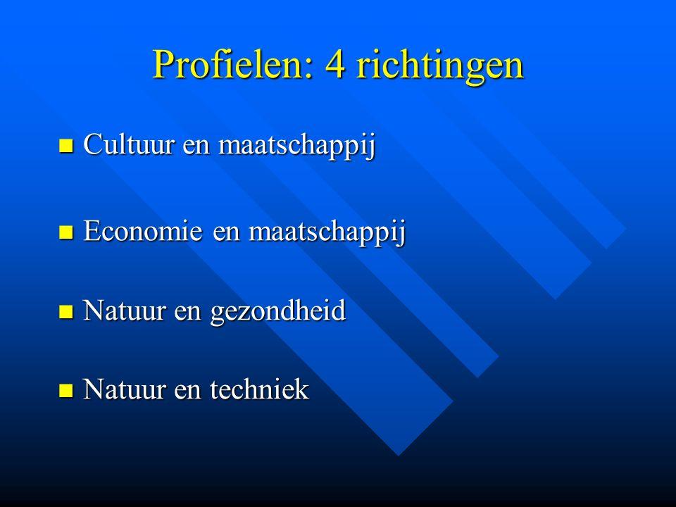 Profielen: 4 richtingen Cultuur en maatschappij Cultuur en maatschappij Economie en maatschappij Economie en maatschappij Natuur en gezondheid Natuur en gezondheid Natuur en techniek Natuur en techniek
