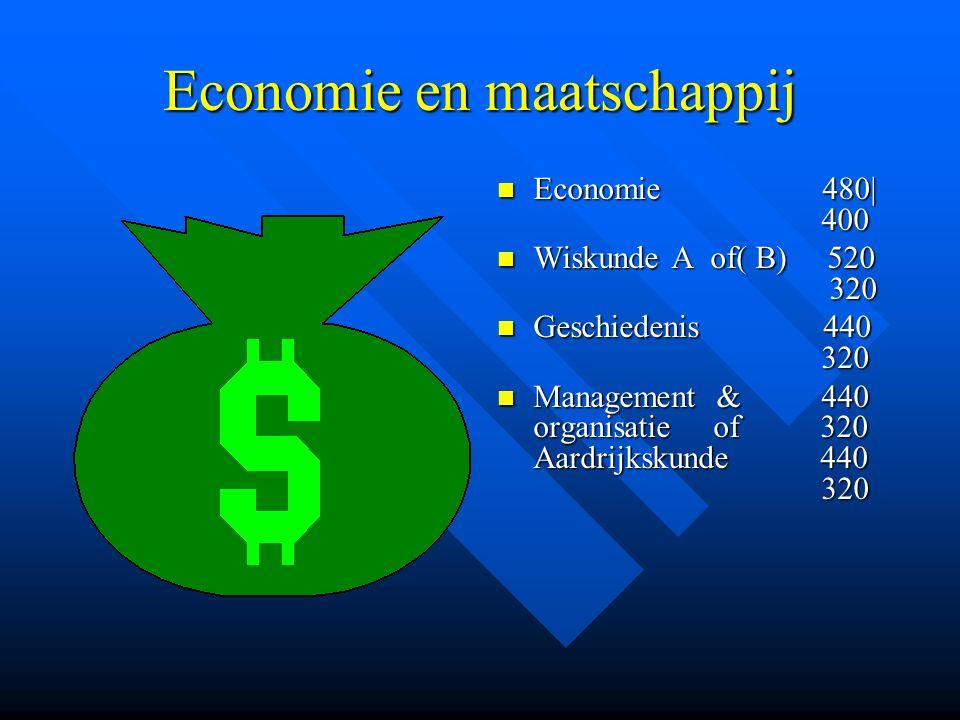 Economie en maatschappij Economie 480| 400 Wiskunde A of( B) 520 320 Geschiedenis 440 320 Management & 440 organisatie of 320 Aardrijkskunde 440 320