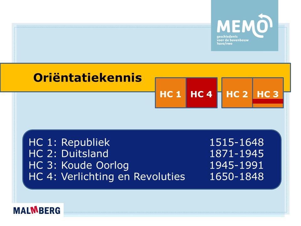 Oriëntatiekennis HC 1: Republiek 1515-1648 HC 2: Duitsland1871-1945 HC 3: Koude Oorlog1945-1991 HC 4: Verlichting en Revoluties1650-1848 HC 1HC 4HC 2HC 3
