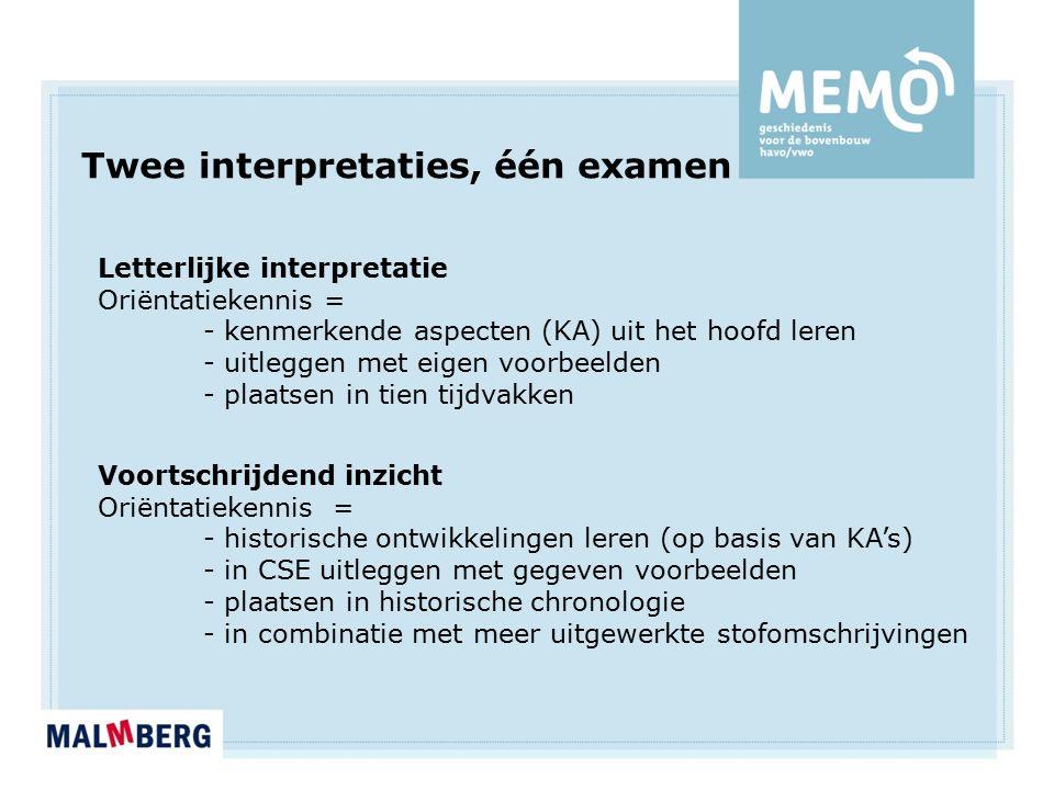 Twee interpretaties, één examen Letterlijke interpretatie Oriëntatiekennis = - kenmerkende aspecten (KA) uit het hoofd leren - uitleggen met eigen voo