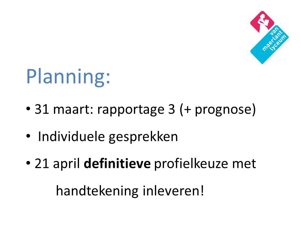 Planning: 31 maart: rapportage 3 (+ prognose) Individuele gesprekken 21 april definitieve profielkeuze met handtekening inleveren!