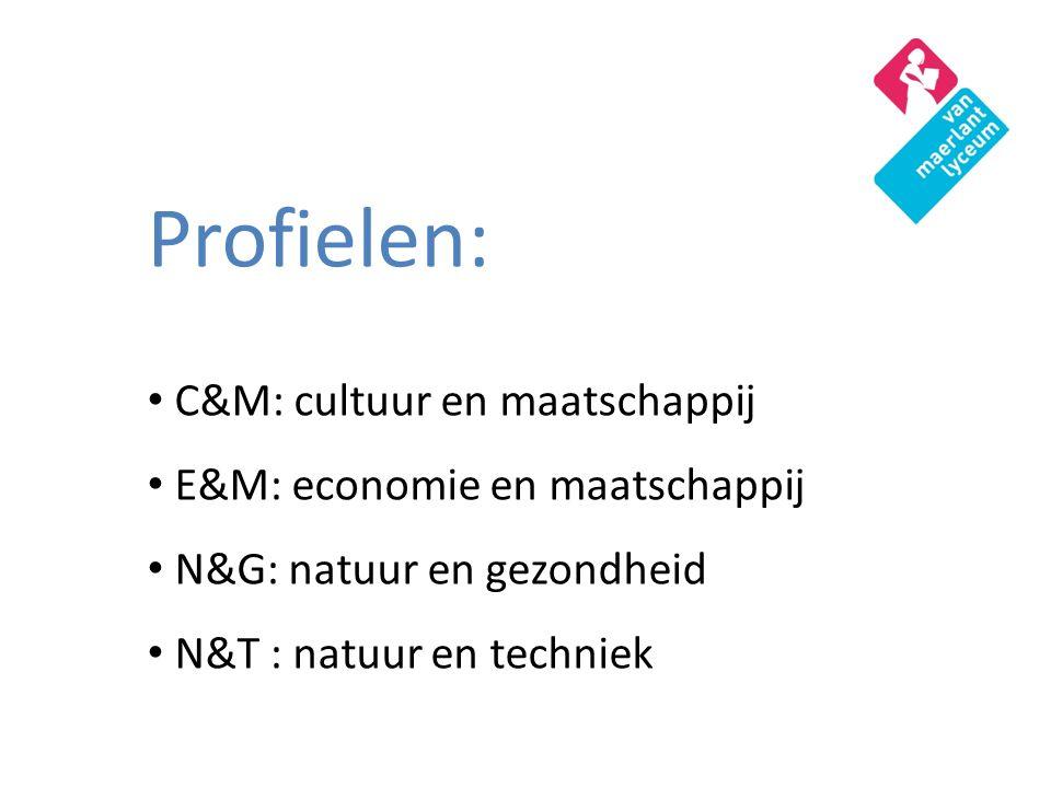Profielen: C&M: cultuur en maatschappij E&M: economie en maatschappij N&G: natuur en gezondheid N&T : natuur en techniek