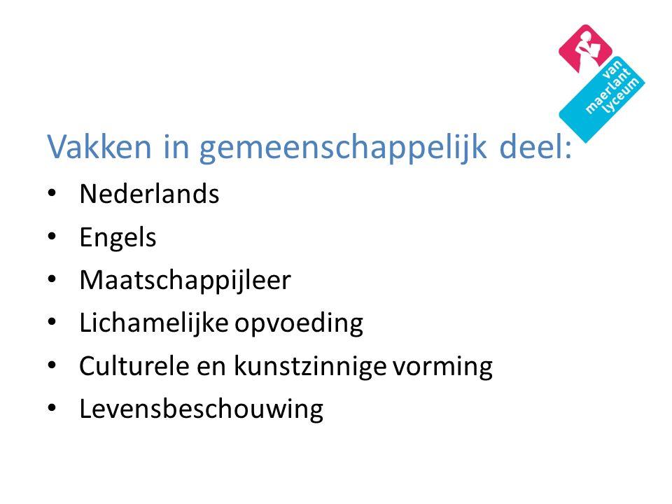 Vakken in gemeenschappelijk deel: Nederlands Engels Maatschappijleer Lichamelijke opvoeding Culturele en kunstzinnige vorming Levensbeschouwing