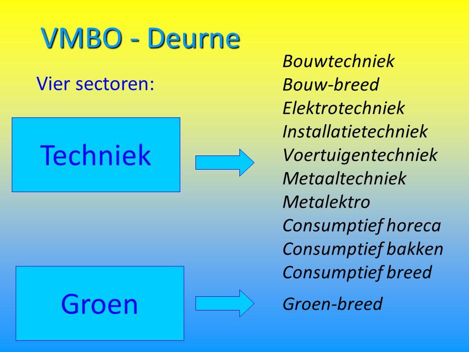 VMBO - Deurne Bouwtechniek Bouw-breed Elektrotechniek Installatietechniek Voertuigentechniek Metaaltechniek Metalektro Consumptief horeca Consumptief bakken Consumptief breed Techniek Groen Vier sectoren: Groen-breed
