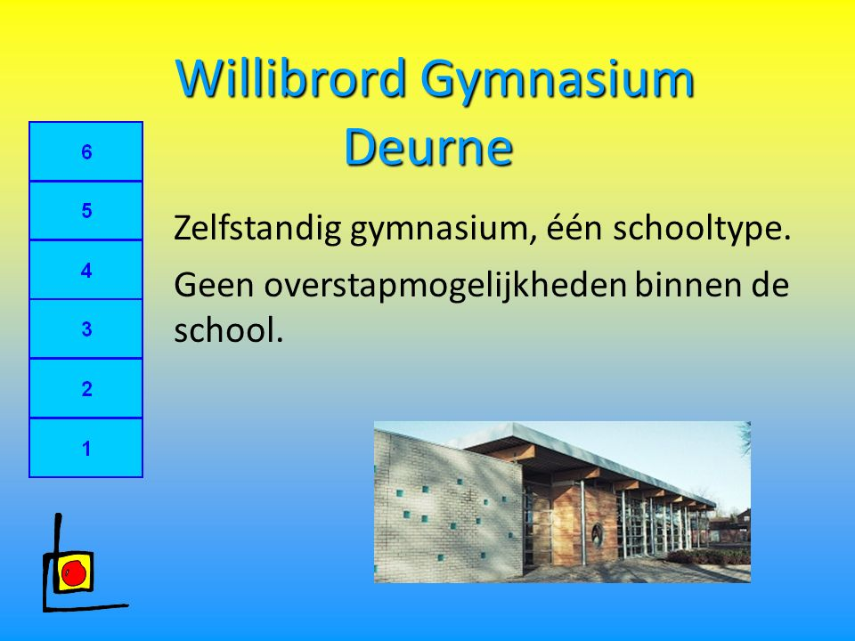 Willibrord Gymnasium Deurne Willibrord Gymnasium Deurne Zelfstandig gymnasium, één schooltype.