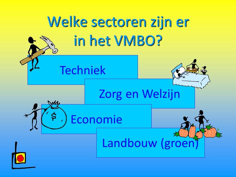 Welke sectoren zijn er in het VMBO Techniek Zorg en Welzijn Economie Landbouw (groen)