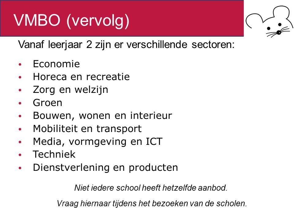 Vanaf leerjaar 2 zijn er verschillende sectoren: Economie Horeca en recreatie Zorg en welzijn Groen Bouwen, wonen en interieur Mobiliteit en transport Media, vormgeving en ICT Techniek Dienstverlening en producten Niet iedere school heeft hetzelfde aanbod.