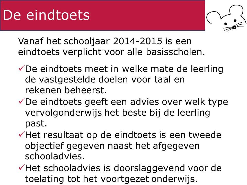 De eindtoets Vanaf het schooljaar 2014-2015 is een eindtoets verplicht voor alle basisscholen. De eindtoets meet in welke mate de leerling de vastgest