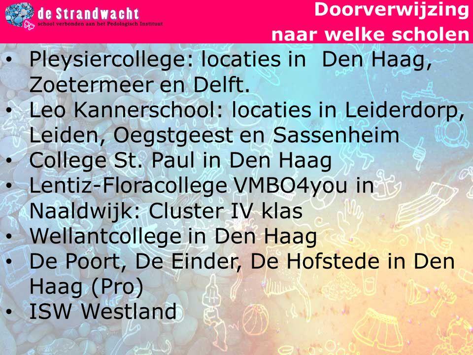 Doorverwijzing naar welke scholen Pleysiercollege: locaties in Den Haag, Zoetermeer en Delft.