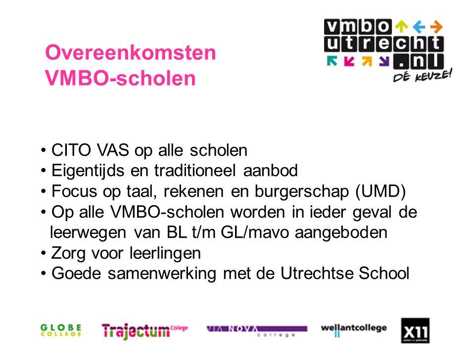 Overeenkomsten VMBO-scholen CITO VAS op alle scholen Eigentijds en traditioneel aanbod Focus op taal, rekenen en burgerschap (UMD) Op alle VMBO-scholen worden in ieder geval de leerwegen van BL t/m GL/mavo aangeboden Zorg voor leerlingen Goede samenwerking met de Utrechtse School