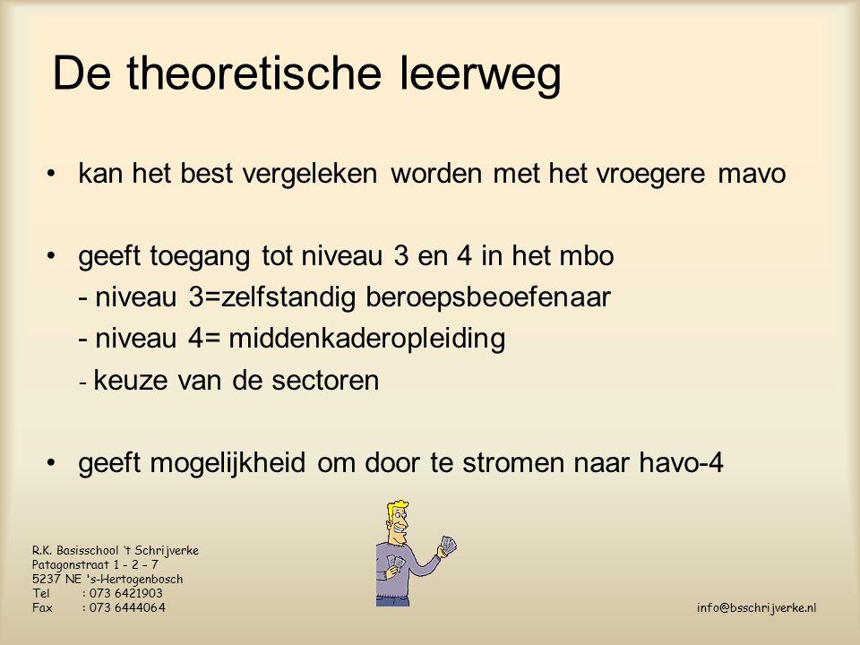 De theoretische leerweg kan het best vergeleken worden met het vroegere mavo geeft toegang tot niveau 3 en 4 in het mbo - niveau 3=zelfstandig beroepsbeoefenaar - niveau 4= middenkaderopleiding - keuze van de sectoren geeft mogelijkheid om door te stromen naar havo-4 R.K.
