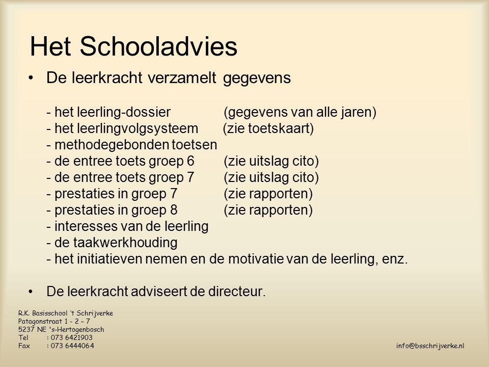 Het Schooladvies De leerkracht verzamelt gegevens - het leerling-dossier(gegevens van alle jaren) - het leerlingvolgsysteem (zie toetskaart) - methodegebonden toetsen - de entree toets groep 6(zie uitslag cito) - de entree toets groep 7(zie uitslag cito) - prestaties in groep 7 (zie rapporten) - prestaties in groep 8(zie rapporten) - interesses van de leerling - de taakwerkhouding - het initiatieven nemen en de motivatie van de leerling, enz.