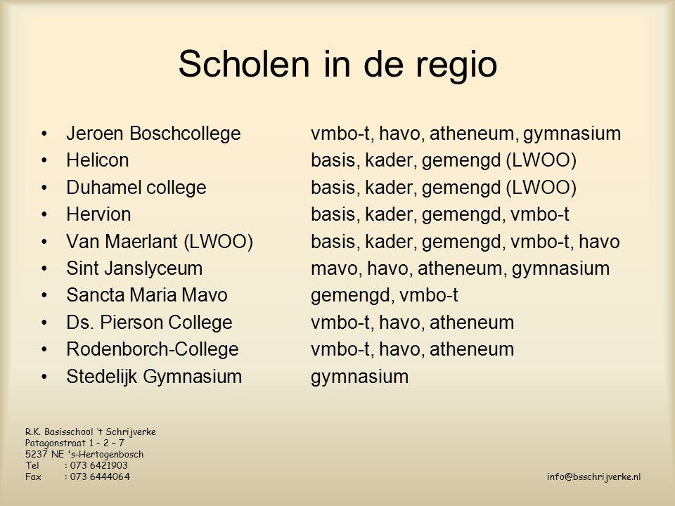 Scholen in de regio Jeroen Boschcollege vmbo-t, havo, atheneum, gymnasium Heliconbasis, kader, gemengd (LWOO) Duhamel collegebasis, kader, gemengd (LWOO) Hervionbasis, kader, gemengd, vmbo-t Van Maerlant (LWOO) basis, kader, gemengd, vmbo-t, havo Sint Janslyceummavo, havo, atheneum, gymnasium Sancta Maria Mavogemengd, vmbo-t Ds.