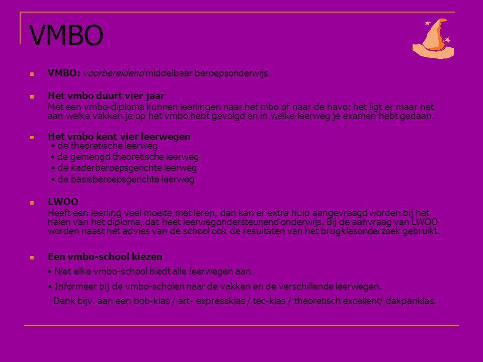 VMBO VMBO: voorbereidend middelbaar beroepsonderwijs.
