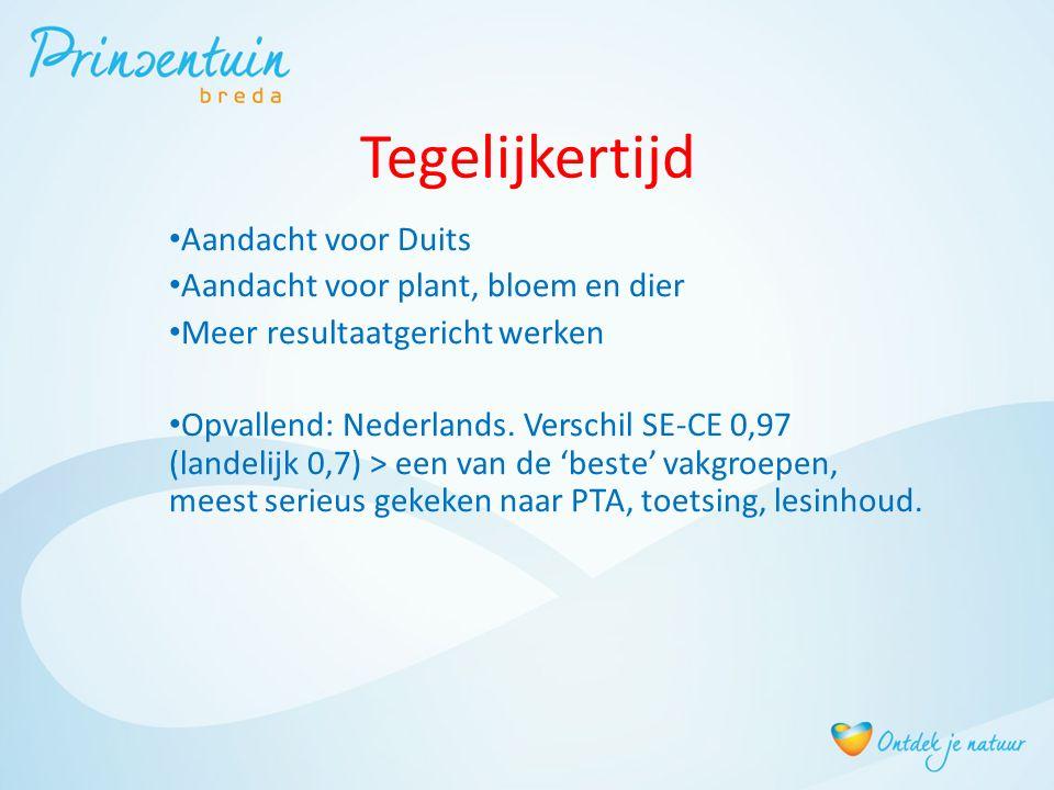 Tegelijkertijd Aandacht voor Duits Aandacht voor plant, bloem en dier Meer resultaatgericht werken Opvallend: Nederlands. Verschil SE-CE 0,97 (landeli