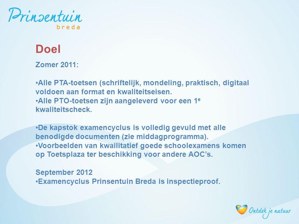 Zomer 2011: Alle PTA-toetsen (schriftelijk, mondeling, praktisch, digitaal voldoen aan format en kwaliteitseisen. Alle PTO-toetsen zijn aangeleverd vo
