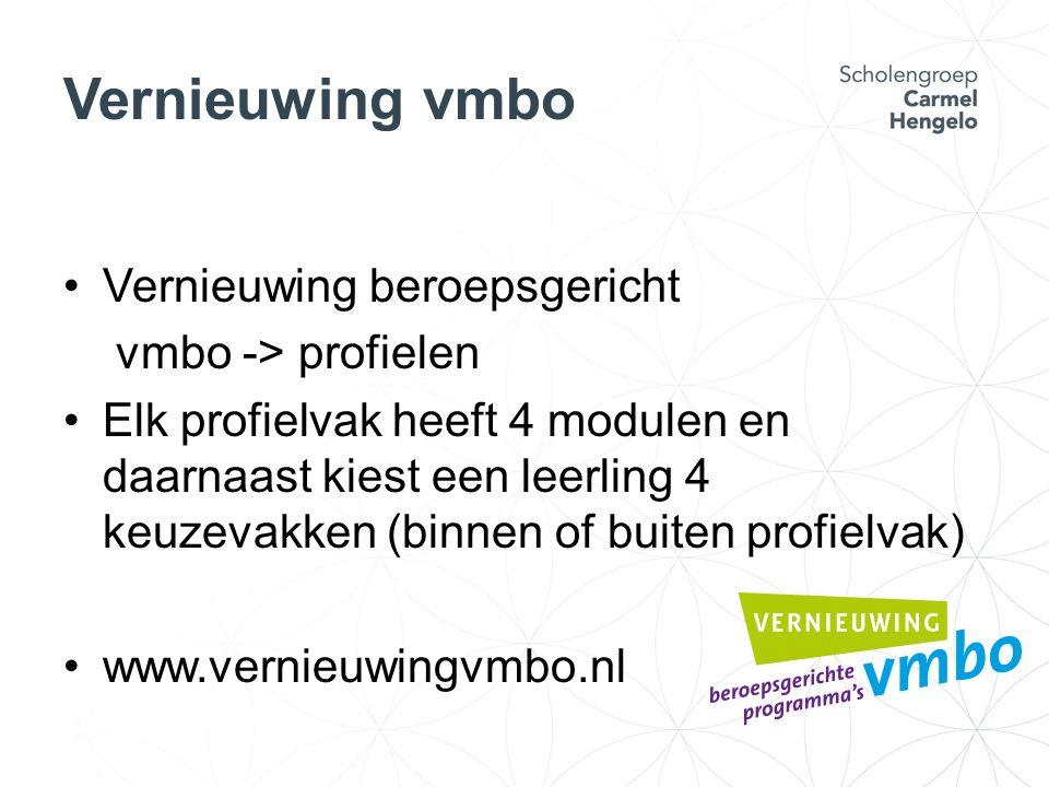 Vernieuwing vmbo Vernieuwing beroepsgericht vmbo -> profielen Elk profielvak heeft 4 modulen en daarnaast kiest een leerling 4 keuzevakken (binnen of