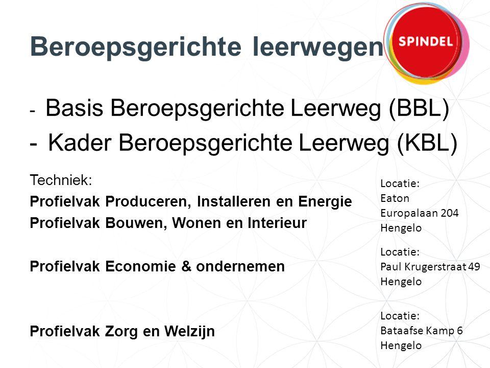Beroepsgerichte leerwegen - Basis Beroepsgerichte Leerweg (BBL) -Kader Beroepsgerichte Leerweg (KBL) Techniek: Profielvak Produceren, Installeren en E