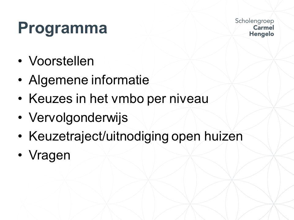 Programma Voorstellen Algemene informatie Keuzes in het vmbo per niveau Vervolgonderwijs Keuzetraject/uitnodiging open huizen Vragen