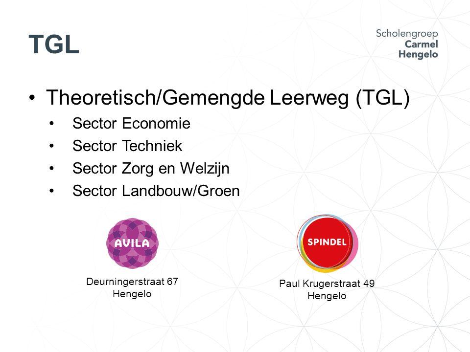 TGL Theoretisch/Gemengde Leerweg (TGL) Sector Economie Sector Techniek Sector Zorg en Welzijn Sector Landbouw/Groen Deurningerstraat 67 Hengelo Paul K