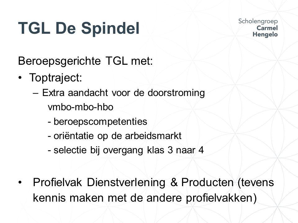 TGL De Spindel Beroepsgerichte TGL met: Toptraject: –Extra aandacht voor de doorstroming vmbo-mbo-hbo - beroepscompetenties - oriëntatie op de arbeids