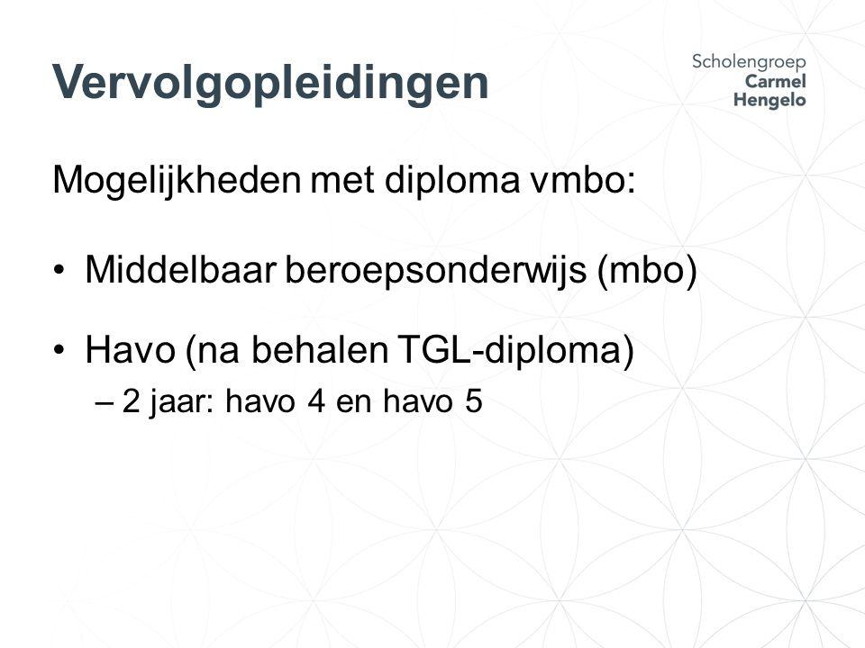 Vervolgopleidingen Mogelijkheden met diploma vmbo: Middelbaar beroepsonderwijs (mbo) Havo (na behalen TGL-diploma) –2 jaar: havo 4 en havo 5