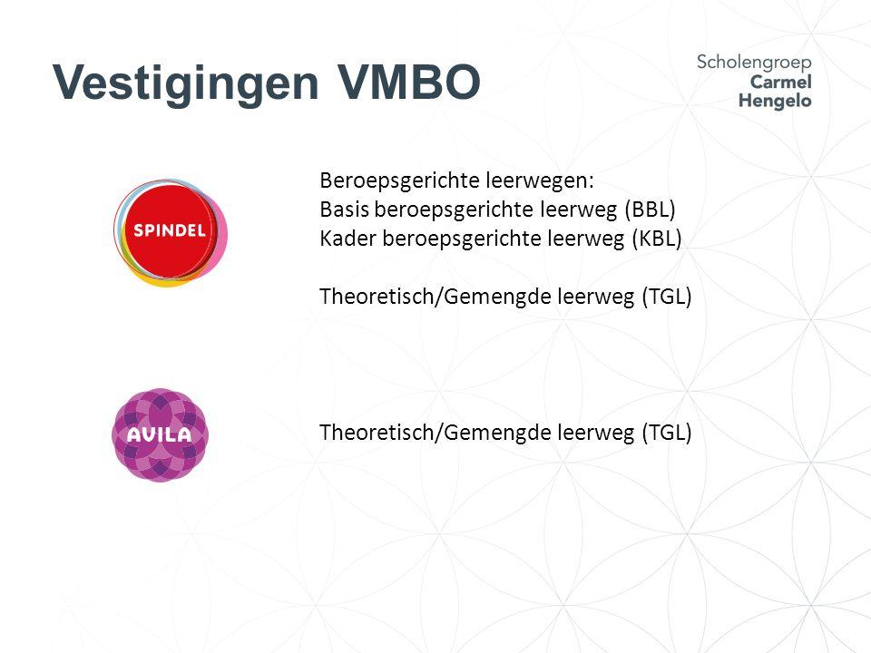 Vestigingen VMBO Beroepsgerichte leerwegen: Basis beroepsgerichte leerweg (BBL) Kader beroepsgerichte leerweg (KBL) Theoretisch/Gemengde leerweg (TGL)