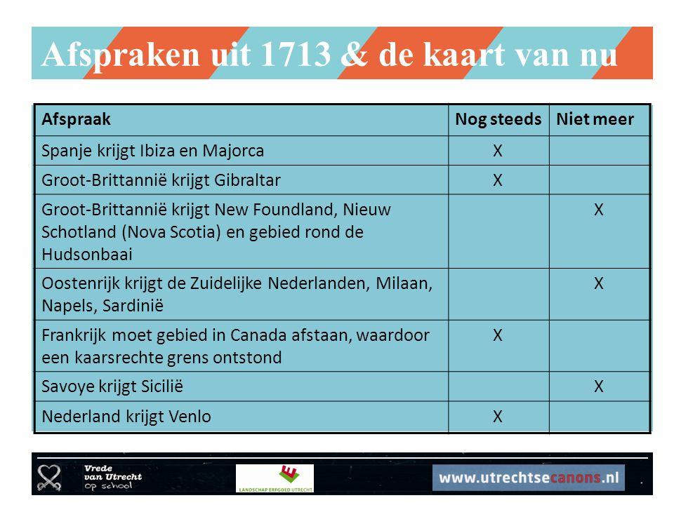 Afspraken uit 1713 & de kaart van nu AfspraakNog steedsNiet meer Spanje krijgt Ibiza en Majorca X Groot-Brittannië krijgt Gibraltar X Groot-Brittannië krijgt New Foundland, Nieuw Schotland (Nova Scotia) en gebied rond de Hudsonbaai X Oostenrijk krijgt de Zuidelijke Nederlanden, Milaan, Napels, Sardinië X Frankrijk moet gebied in Canada afstaan, waardoor een kaarsrechte grens ontstond X Savoye krijgt Sicilië X Nederland krijgt Venlo X