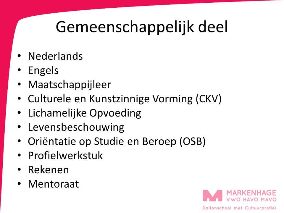 Gemeenschappelijk deel Nederlands Engels Maatschappijleer Culturele en Kunstzinnige Vorming (CKV) Lichamelijke Opvoeding Levensbeschouwing Oriëntatie